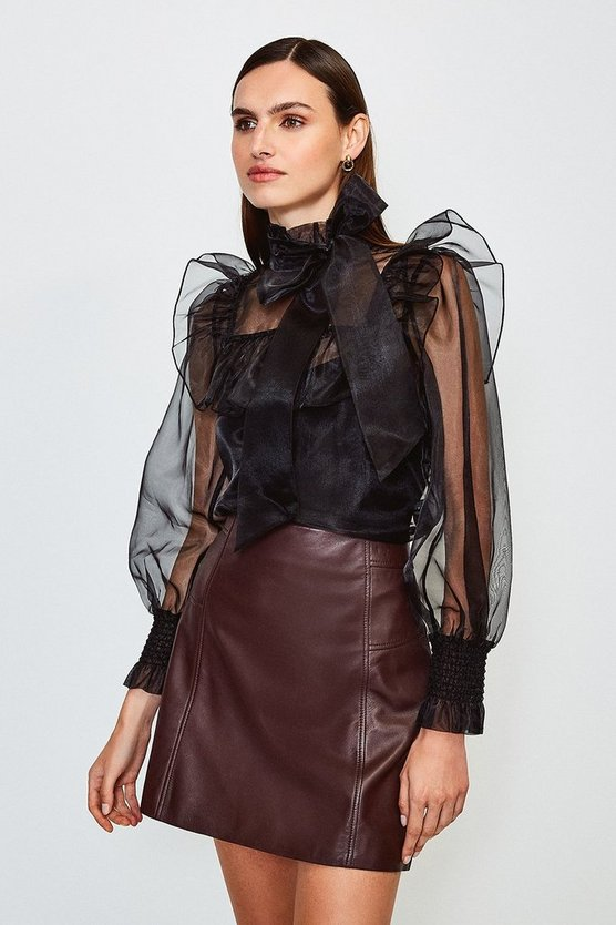 Black Long Sleeve Bow Neck Organza Blouse