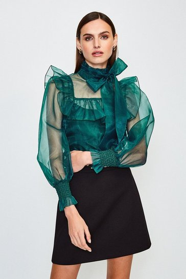 Green Long Sleeve Bow Neck Organza Blouse