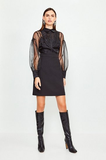 Black Organza Blouson Sleeve Dress