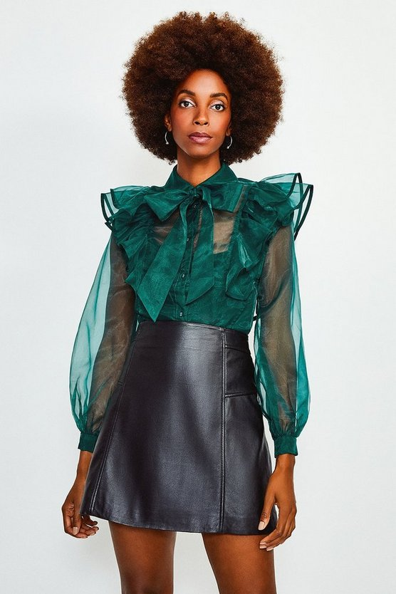 Green Bow Front Ruffle Organza Top