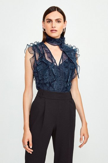 Navy Tie Neck Ruffle Organza Top