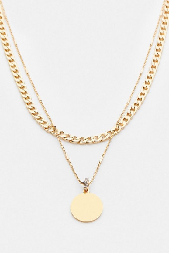 Gold Plated Coin Layered Necklace