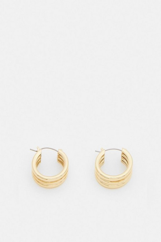Gold Plated Pipe Trio Hoops