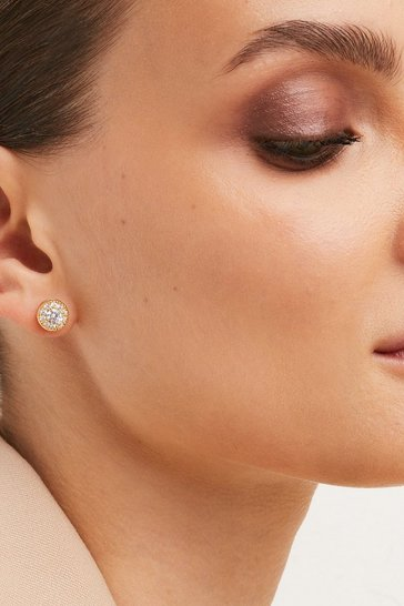 Gold Round Rhinestone Earrings Stud Pack