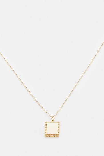 Gold Plated Square Tag Necklace