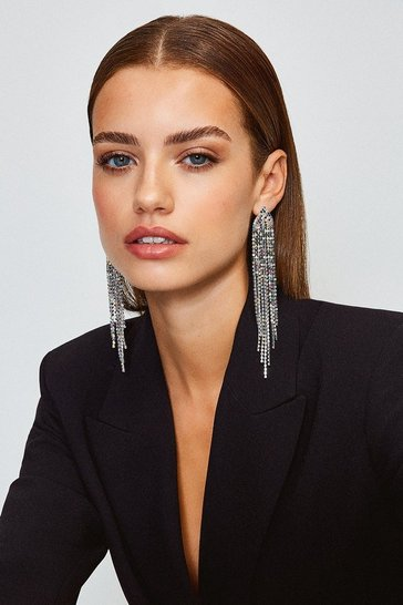 Silver Diamante Statement Earrings