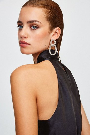 Gold Diamante Glam Statement Earrings