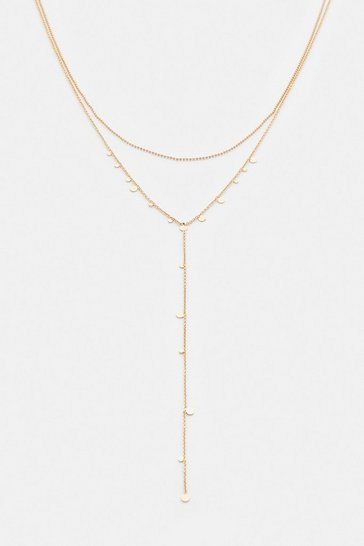 Gold Plated Disc Layered Necklace