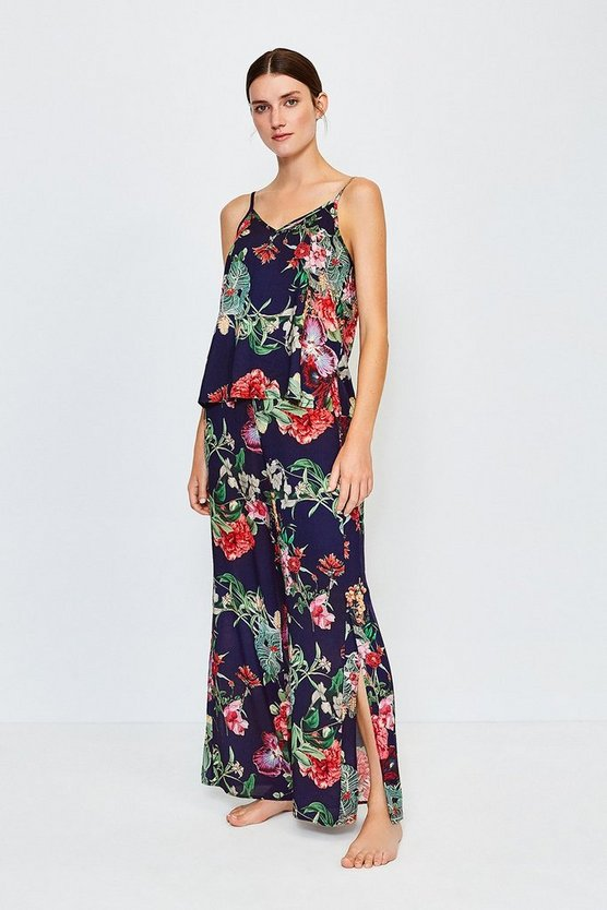 Navy Floral Wide Leg Nightwear Pant