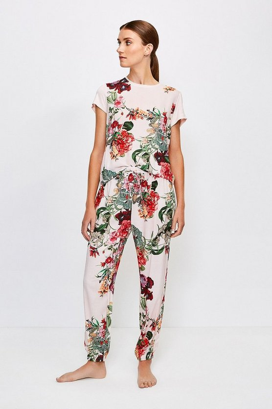 Pink Floral Cuffed Nightwear Pant