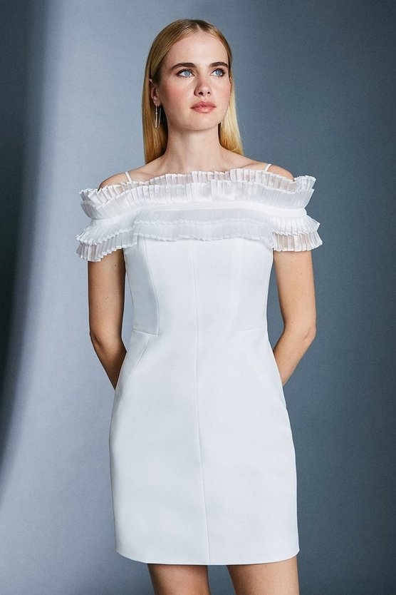Ivory Pleated Organza Bardot Dress