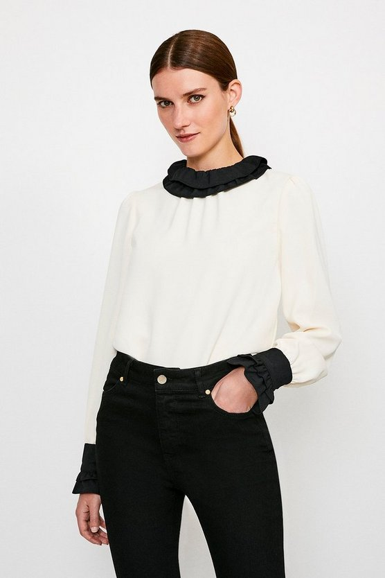 Ivory Contrast Frill Collar Blouse