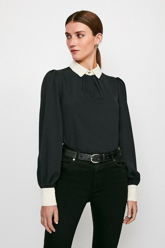 Black Contrast Collar Blouse