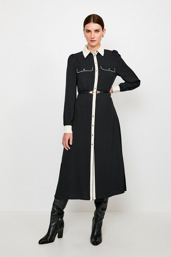 Black Contrast Midi Shirt Dress