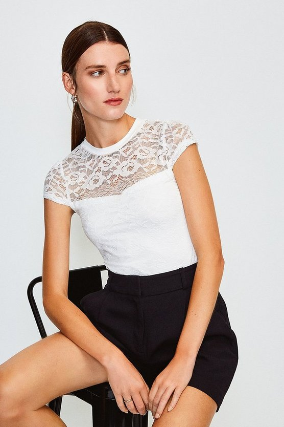 Ivory Lace Short Sleeve Jersey Top
