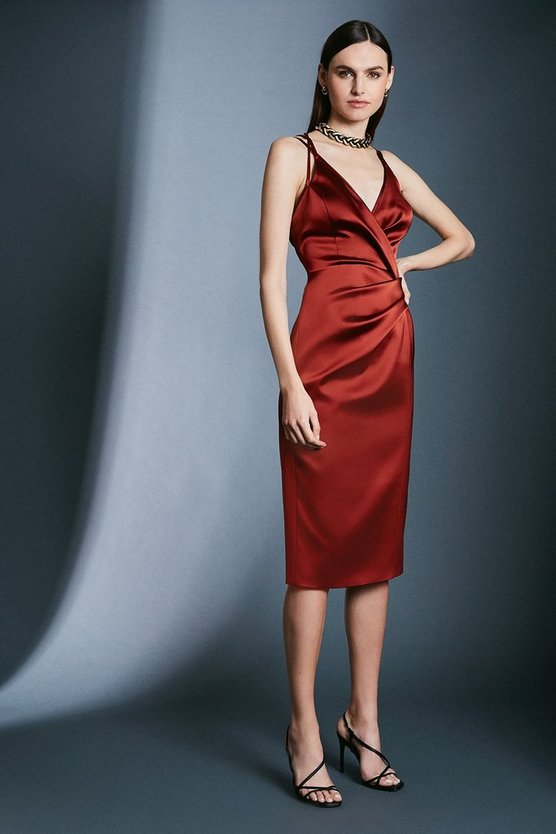 Rust Italian Structured Satin Stappy Dress