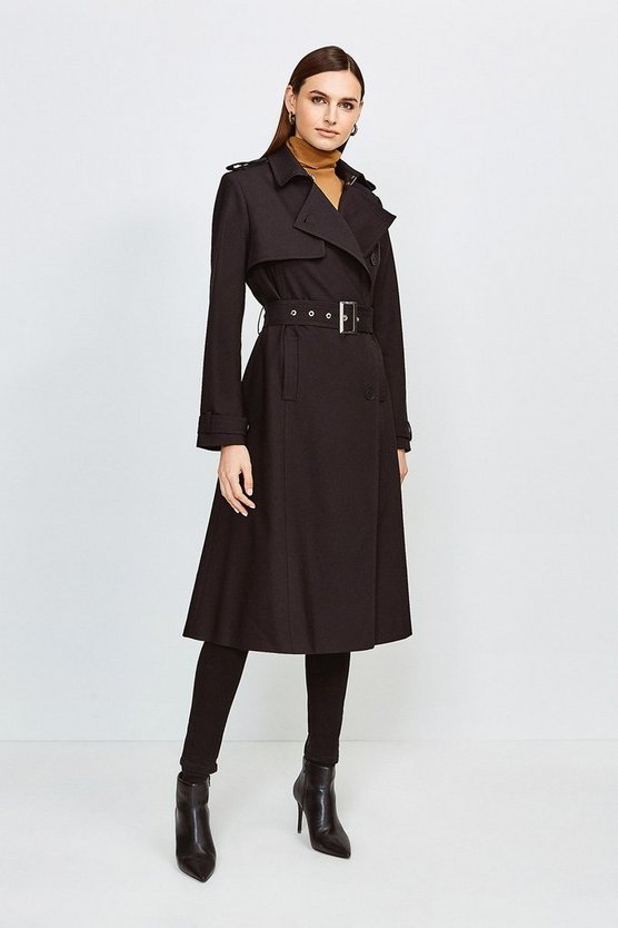 Black Cotton Sateen Belted Mac