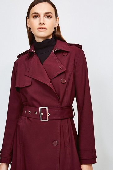 Merlot Cotton Sateen Belted Mac