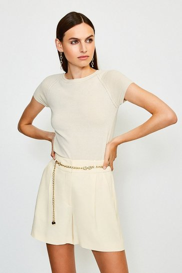 Cream Belted Relaxed Tuxedo Shorts
