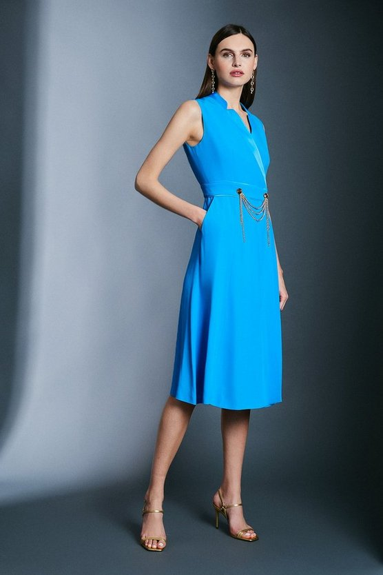 Aqua Chain Detail Collar Wrap Midi Dress