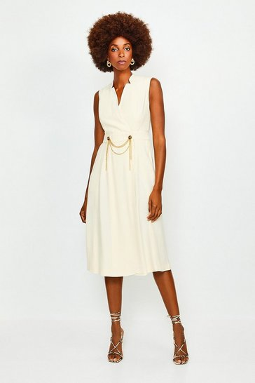 Cream Chain Detail Collar Wrap Midi Dress
