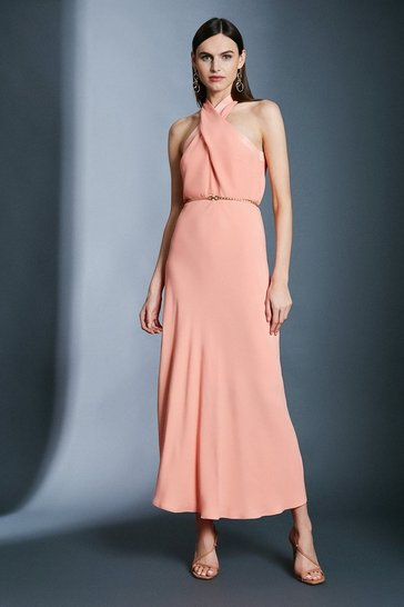Apricot Contrast Collar Halter Neck Dress