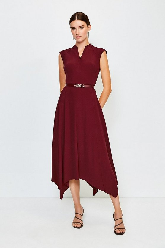 Brick Belted Notch Neck Dress