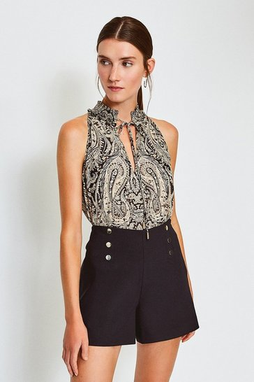 Black Printed Halterneck Shirred Top