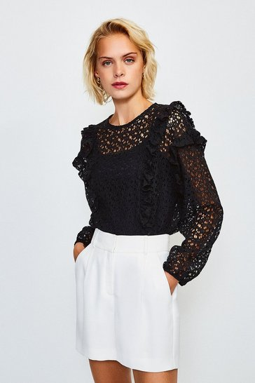 Black Cutwork Long Sleeve Frill Peplum Top