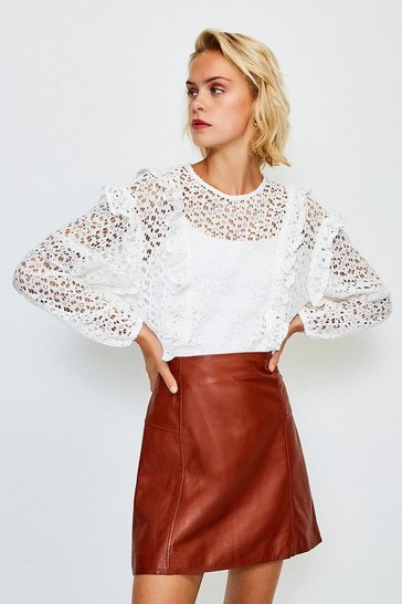White Cutwork Long Sleeve Frill Peplum Top