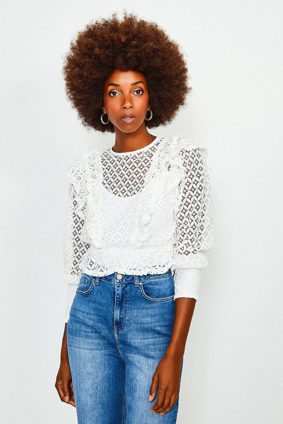White Cutwork Long Sleeve Frill Top
