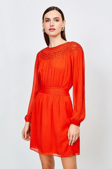Fire red Macram Yoke Chiffon Dress