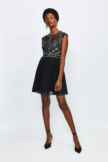 Black Chemical Lace Sequin Pleat Dress