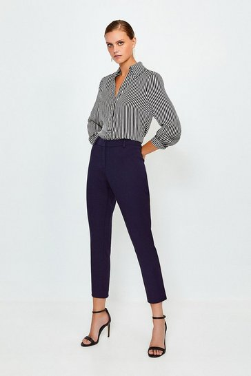 Navy Bi Stretch Capri Trouser