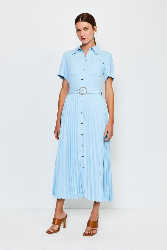 Pale blue Plain Coloured Pleated Shirt Dress