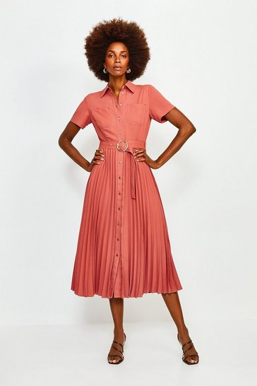 Tan Plain Coloured Pleated Shirt Dress