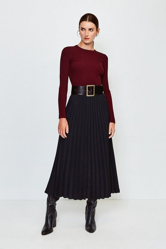 Black Sunray Pleated Midi Skirt