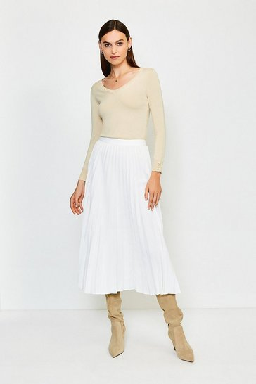 Cream Sunray Pleated Midi Skirt