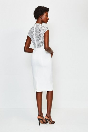 Ivory Square Neck Cap Sleeve Lace Forever Dress