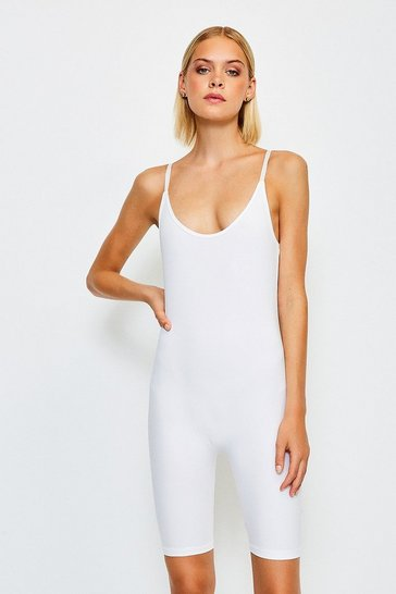 White Smoothing Essentials Strappy Unitard