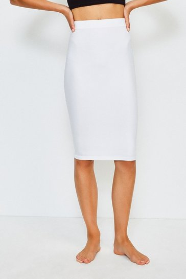 White Smoothing Essentials Midi Slip Skirt