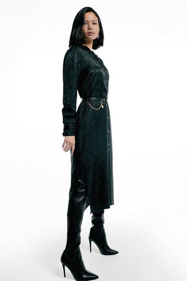 Black Label Silk Jacquard Shirt Dress