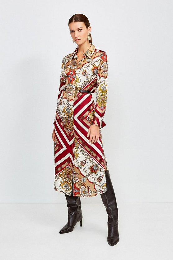 Orange Silk Printed Shirt Dress