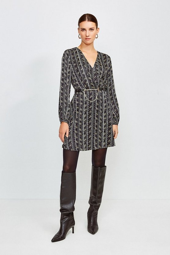 Black Printed Silk Front Wrap Dress