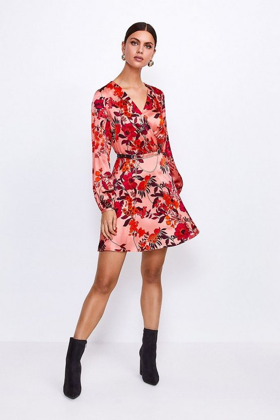 Floral Printed Silk Front Wrap Dress