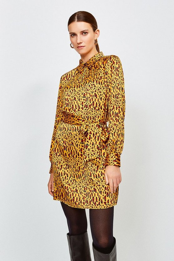 Animal Silk Tie Waist Shirt Dress