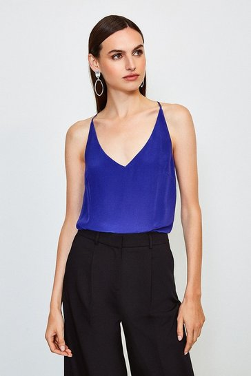Blue Silk Cami
