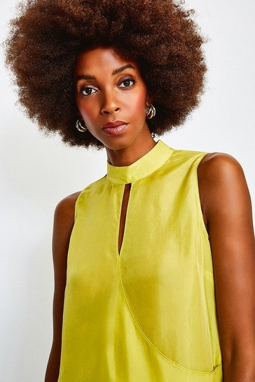 Lime Silk Habotai Sleeveless Wrap Blouse