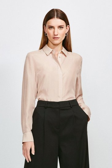 Blush Silk Habotai Shirt