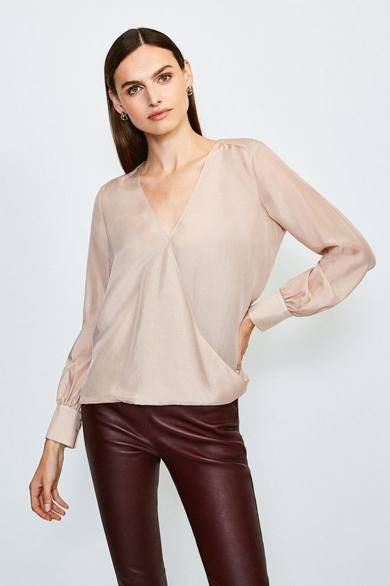 Blush Silk Habotai Wrap Blouse